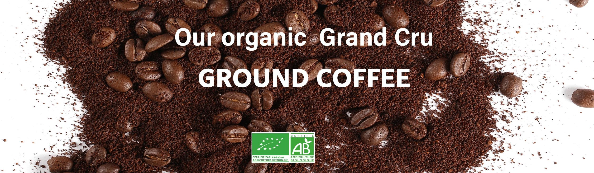 Ground organic coffee